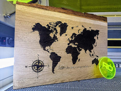 Beautifully Laser Engraved Wooden World Map